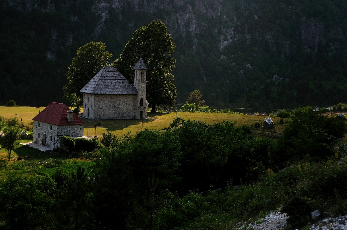 Albania cycling trip - Theth church at sunset