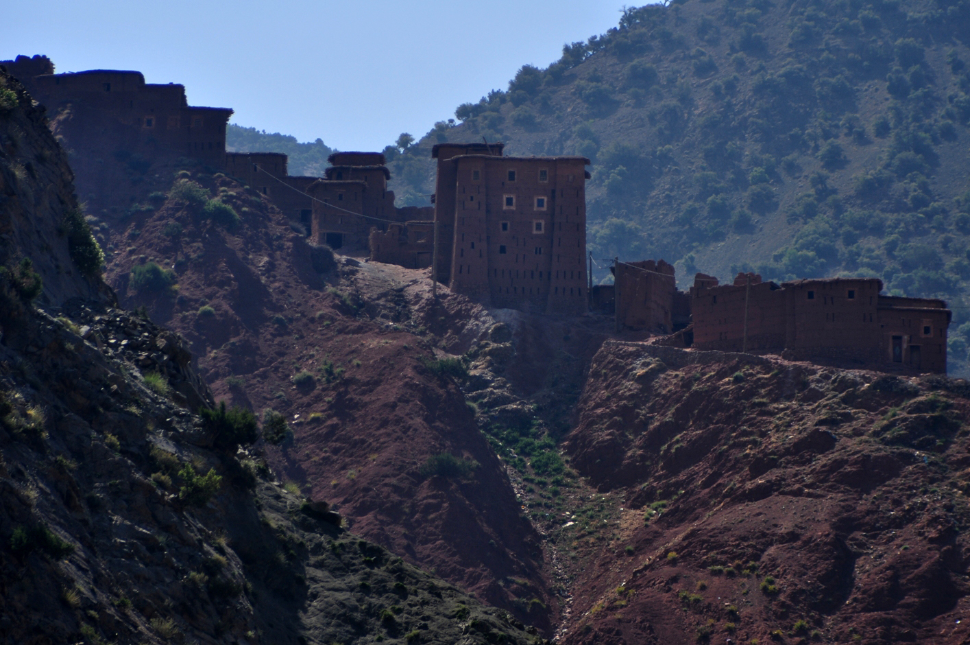 A village with a kasbah, high above the river