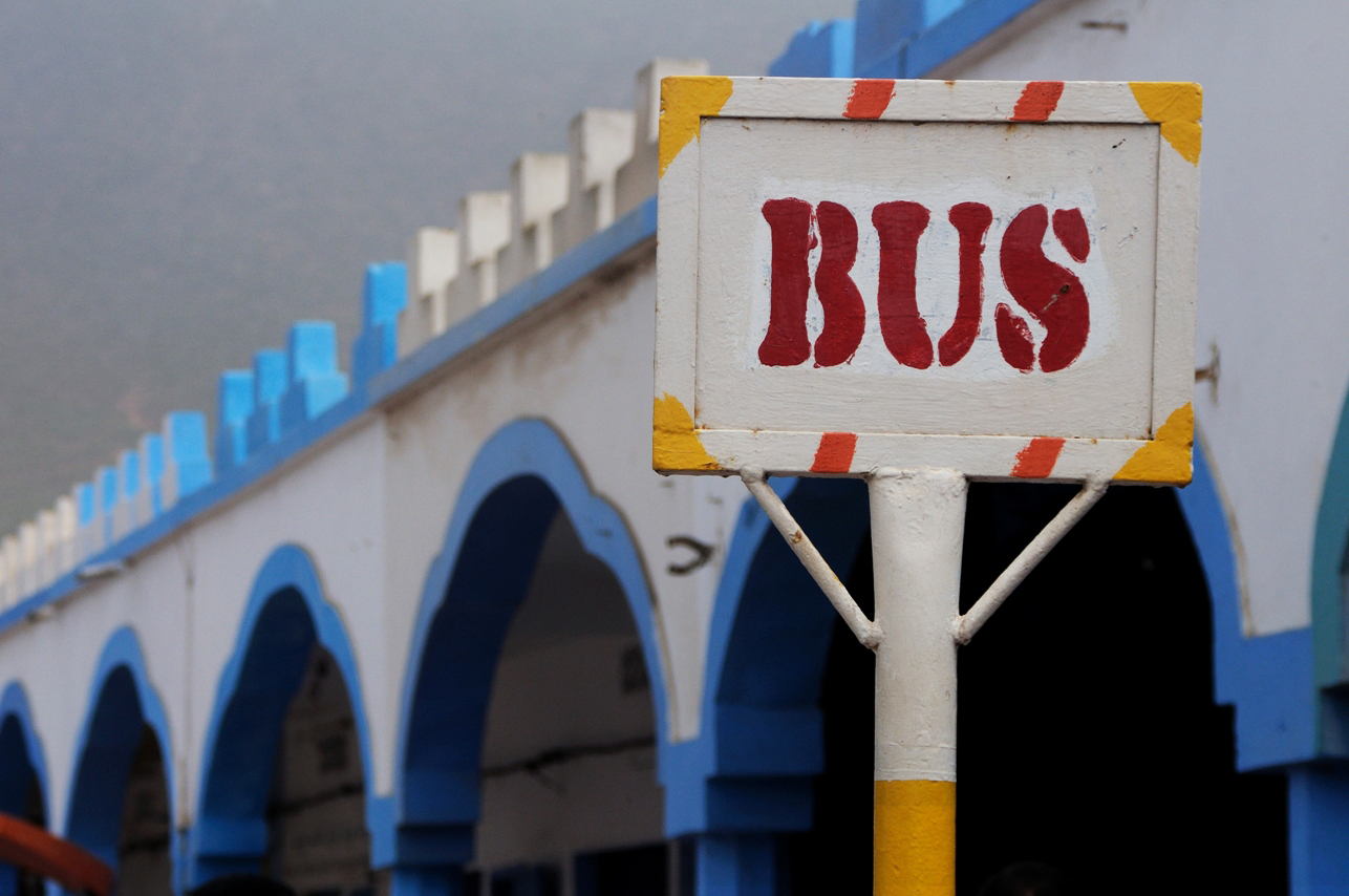 A bus stop in Avenue Hassan II in Sidi Ifni