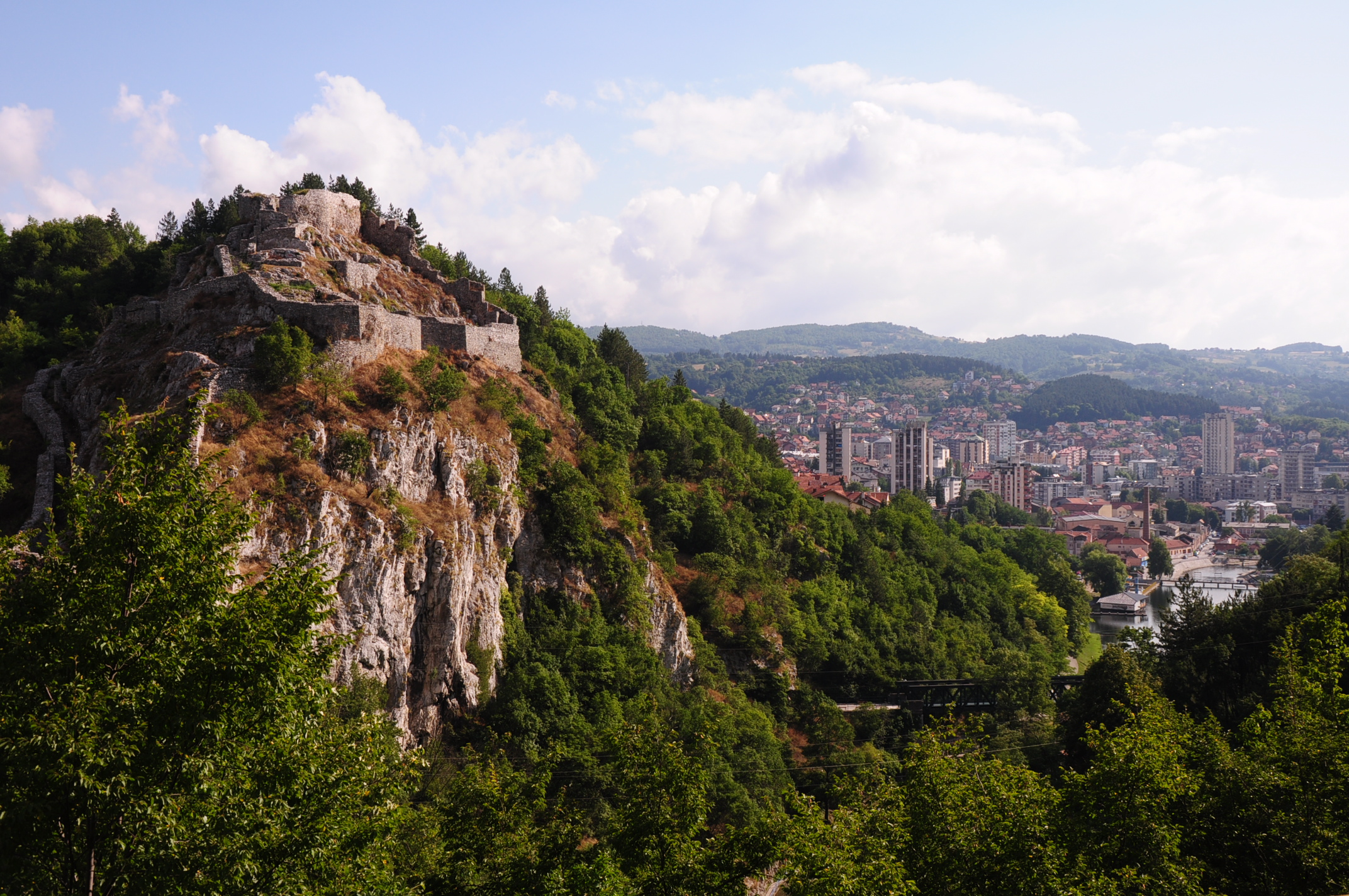 The castle of Uzice with the city in the distance