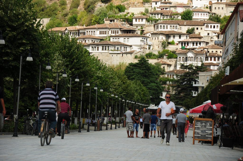 Pedestrian zone in Berat, Albania