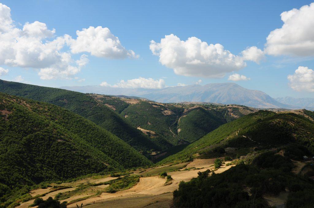 Green hillsides near Berat