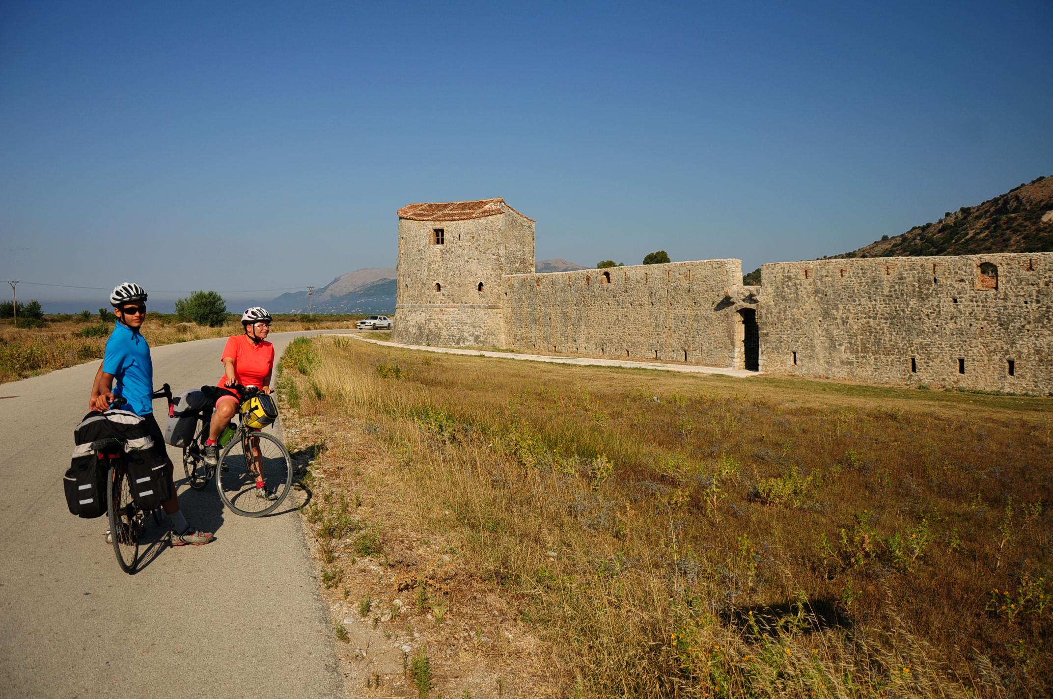 Anita and Aron with the Venetian fort across Butrint