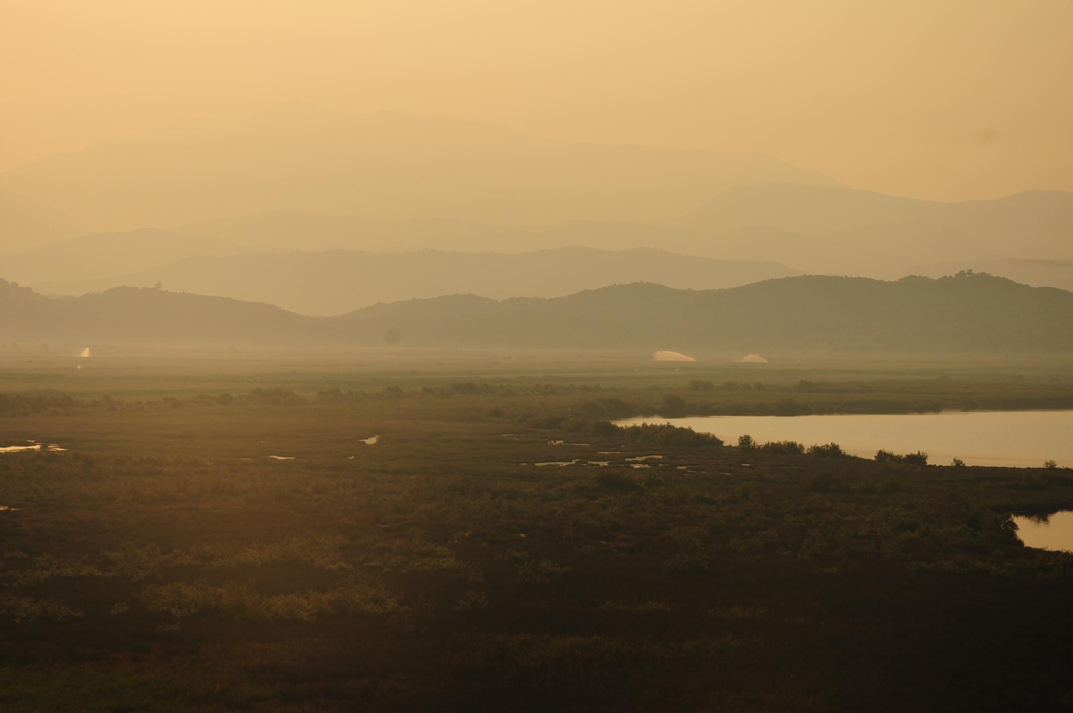 A Butrint és Saranda közötti mocsaras rész napfeltekor