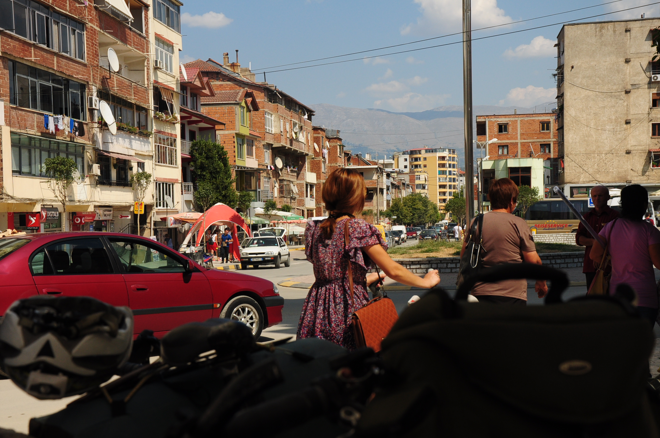 A busy road crossing in Pogradec