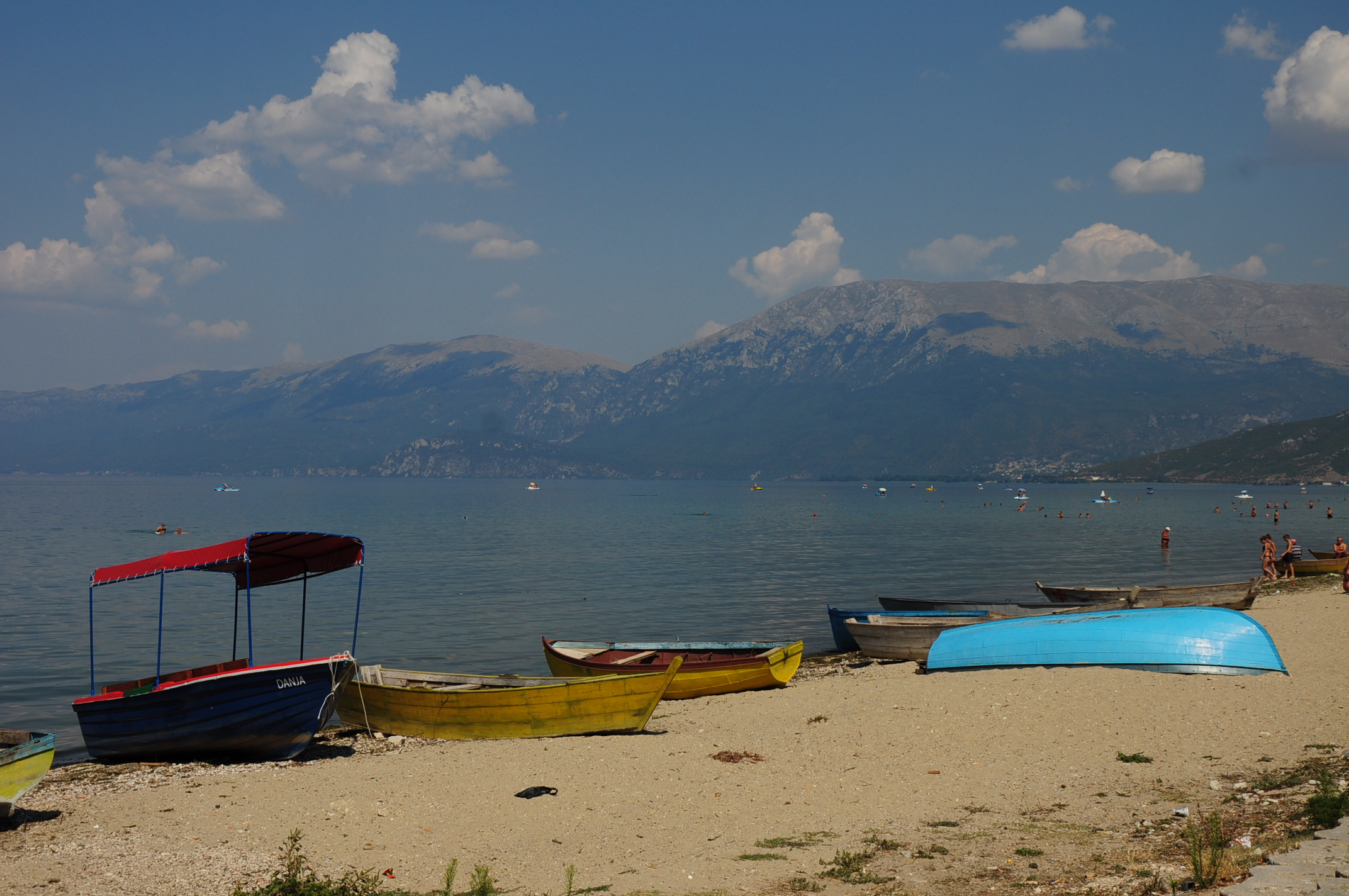 The public beach in Pogradec