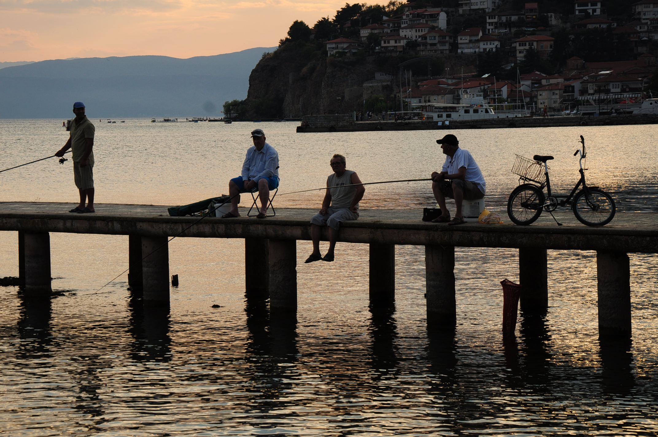 Locals enjoy a balmy evening in Ohrid