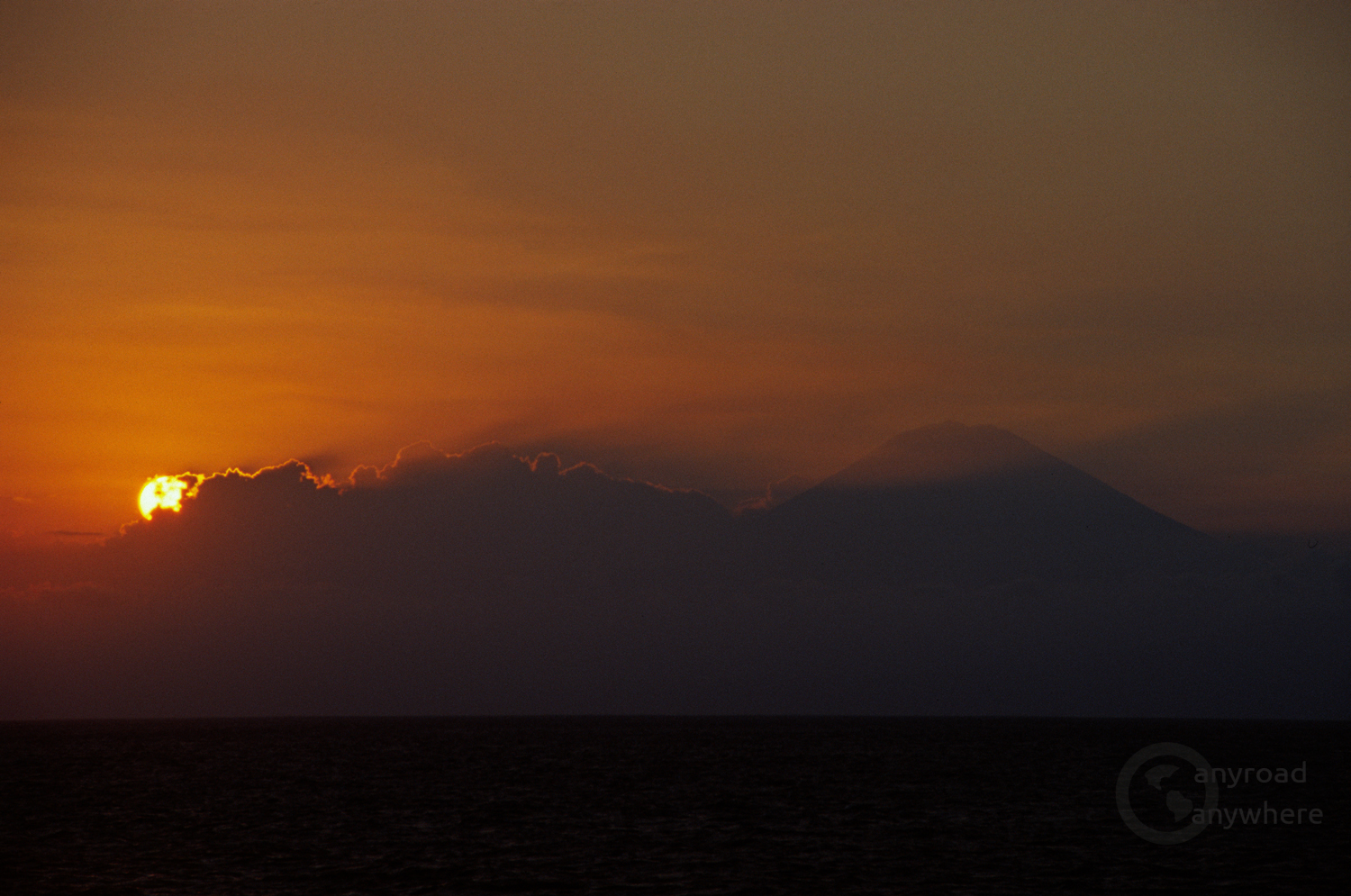 The sunset with Bali's Mount Agung from Lombok