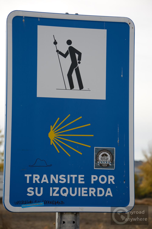 Warning sign for pilgrims
