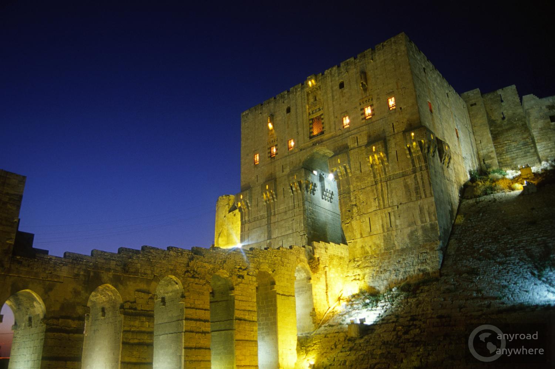 Aleppo vára esti fényben