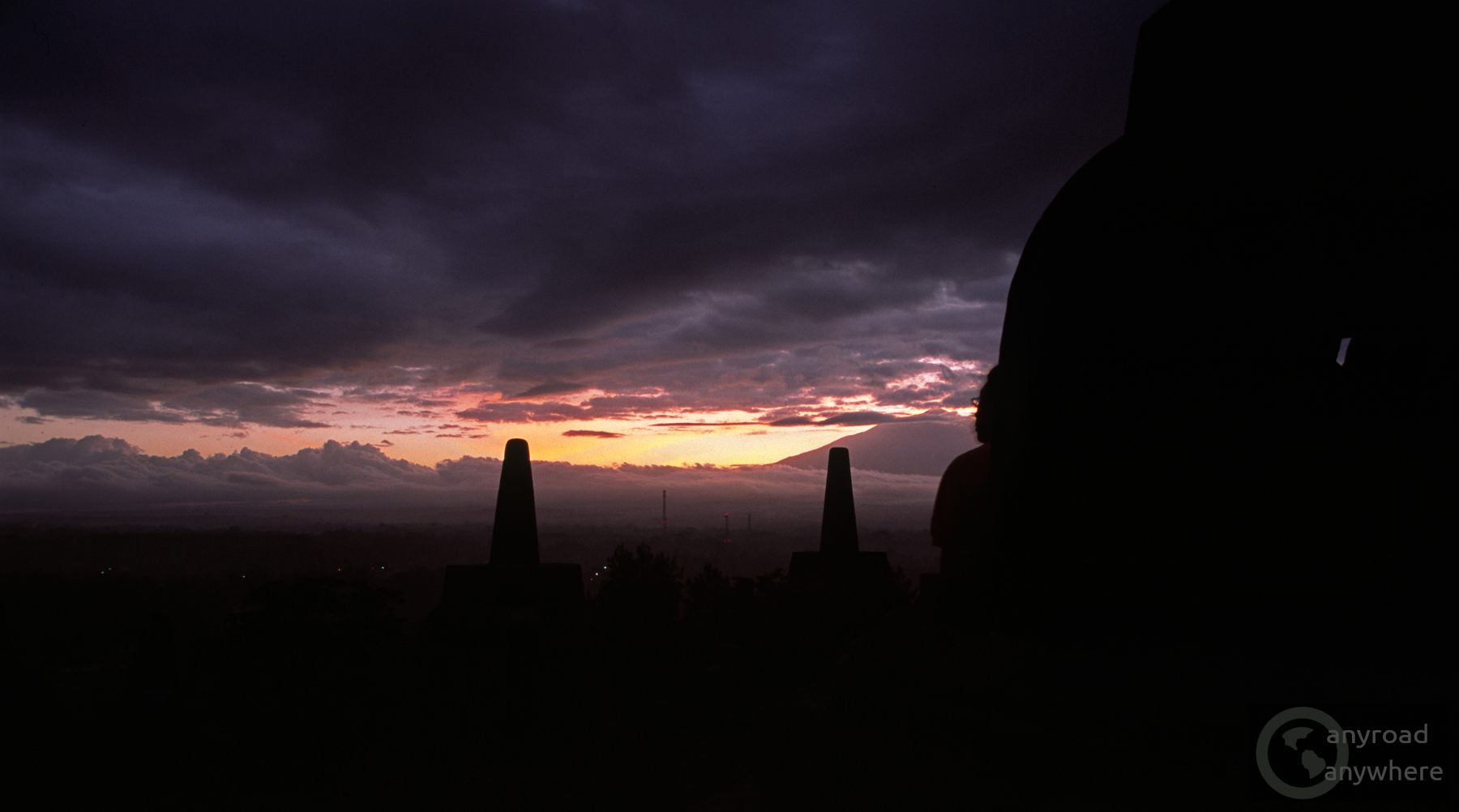 The sun rises in Borobudur