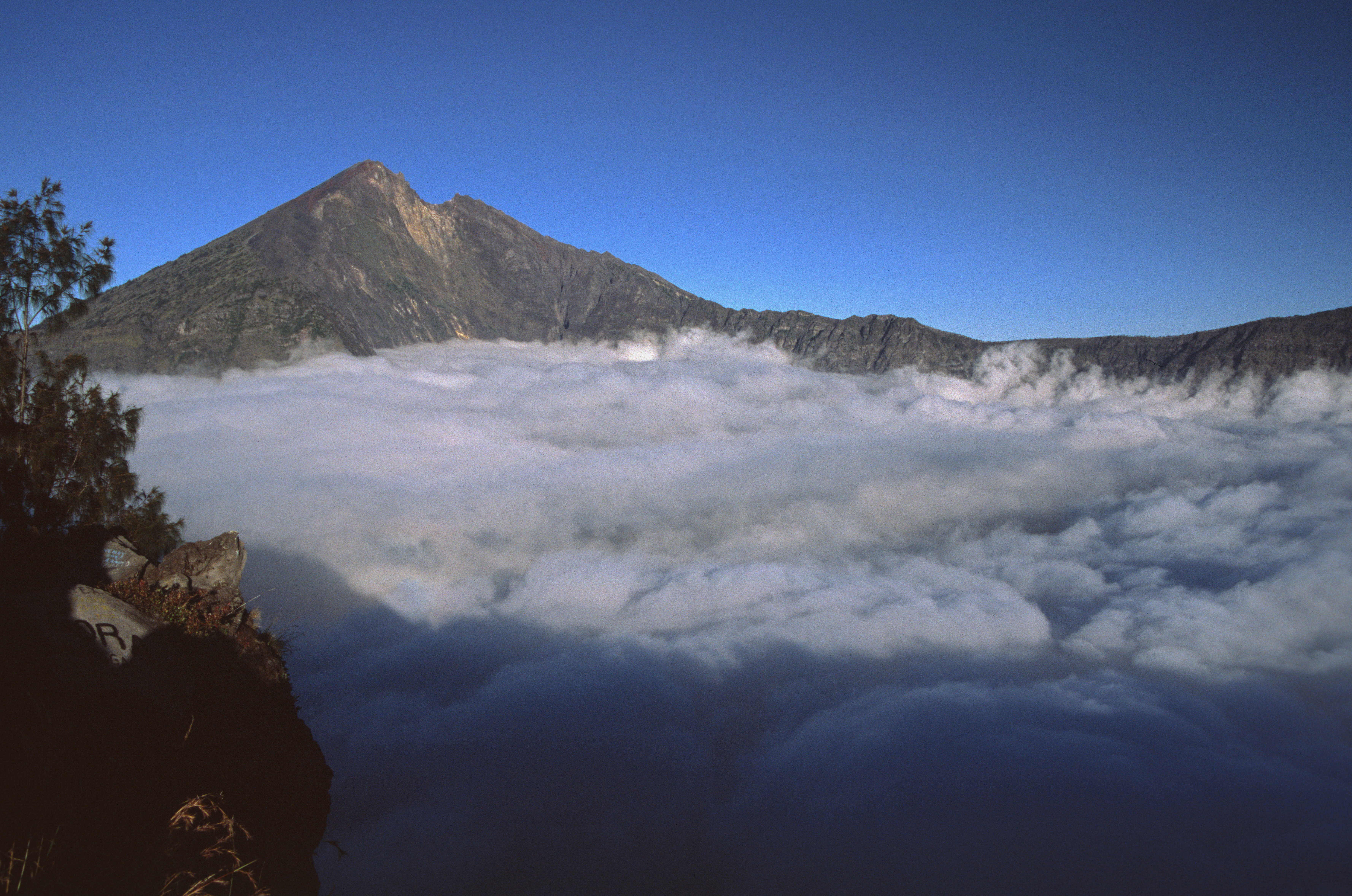 A sea of clouds in the ancient crater of Mount Tengger