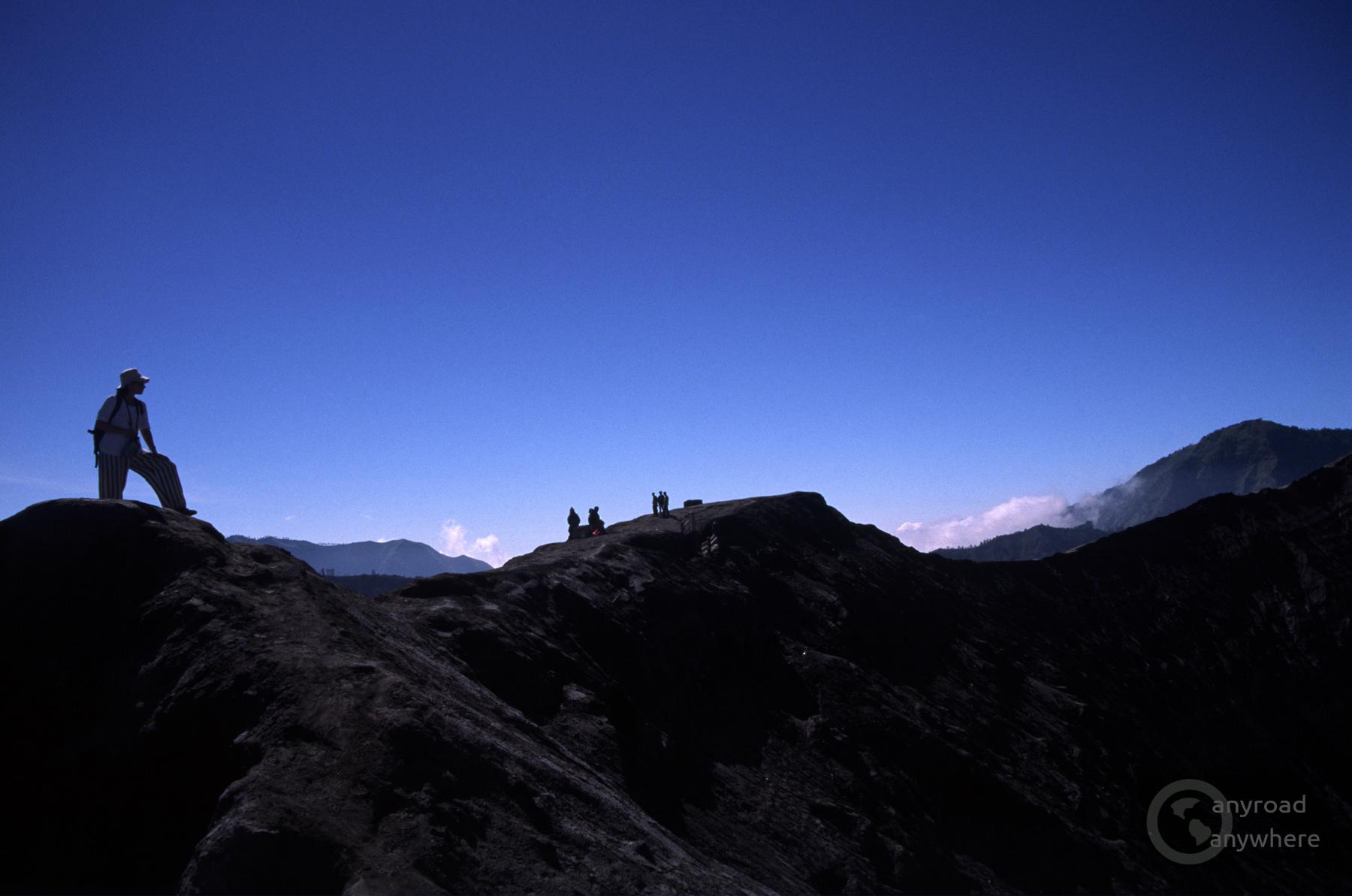 Walking on the crater rim of Mount Bromo