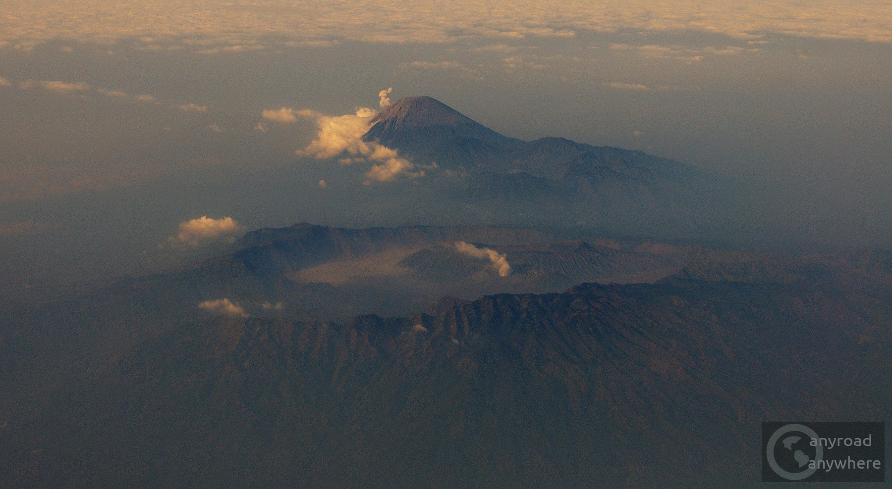 Mount Bromo and Mount Merapi from the plane