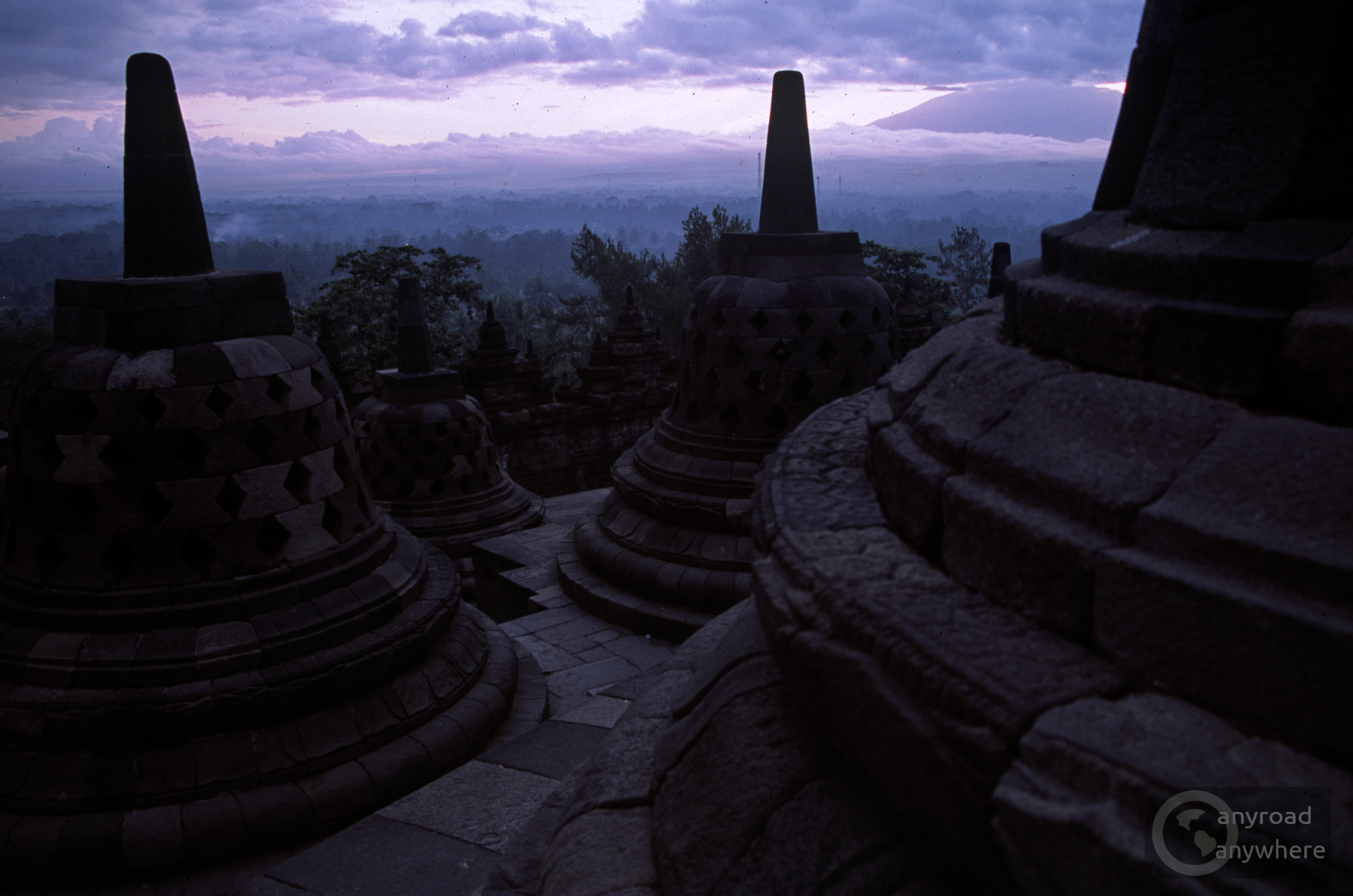 The soft tones of dawn in Borobudur