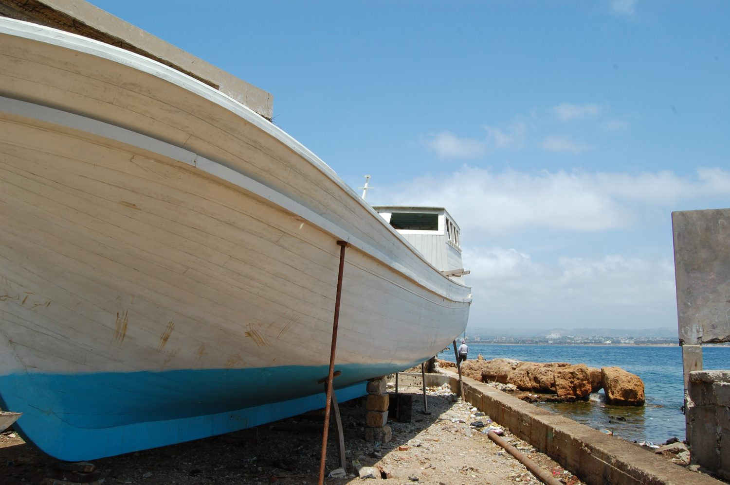 A boat on Arwad Island, ready to return to the sea