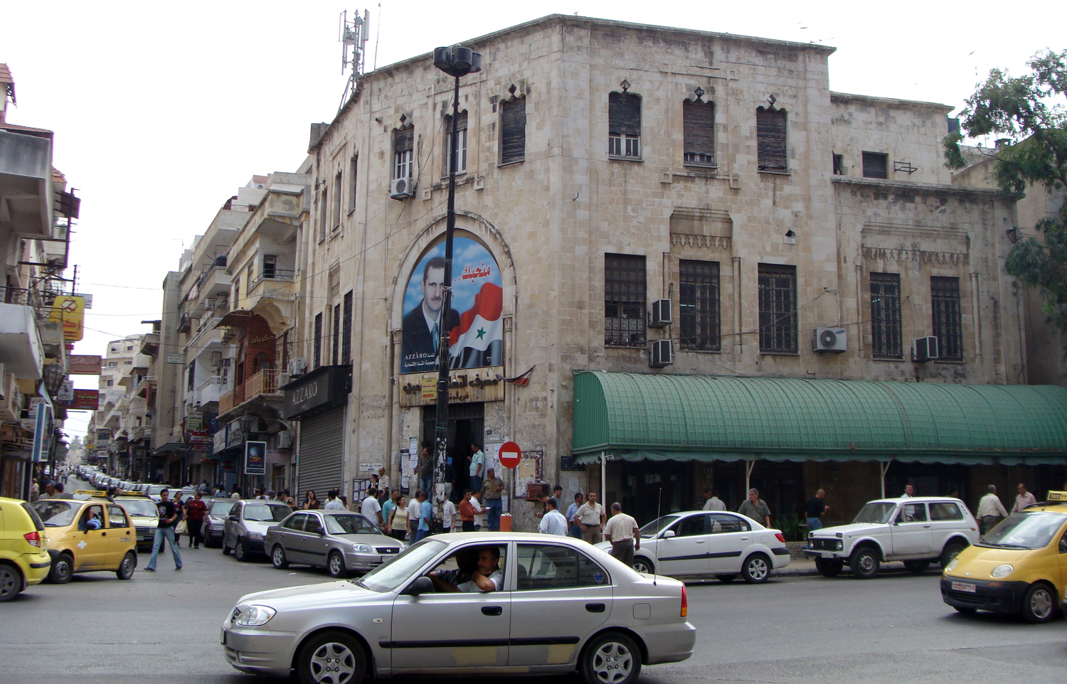 Street in Latakia with the image of the country's leader, Basar al-Assad.
