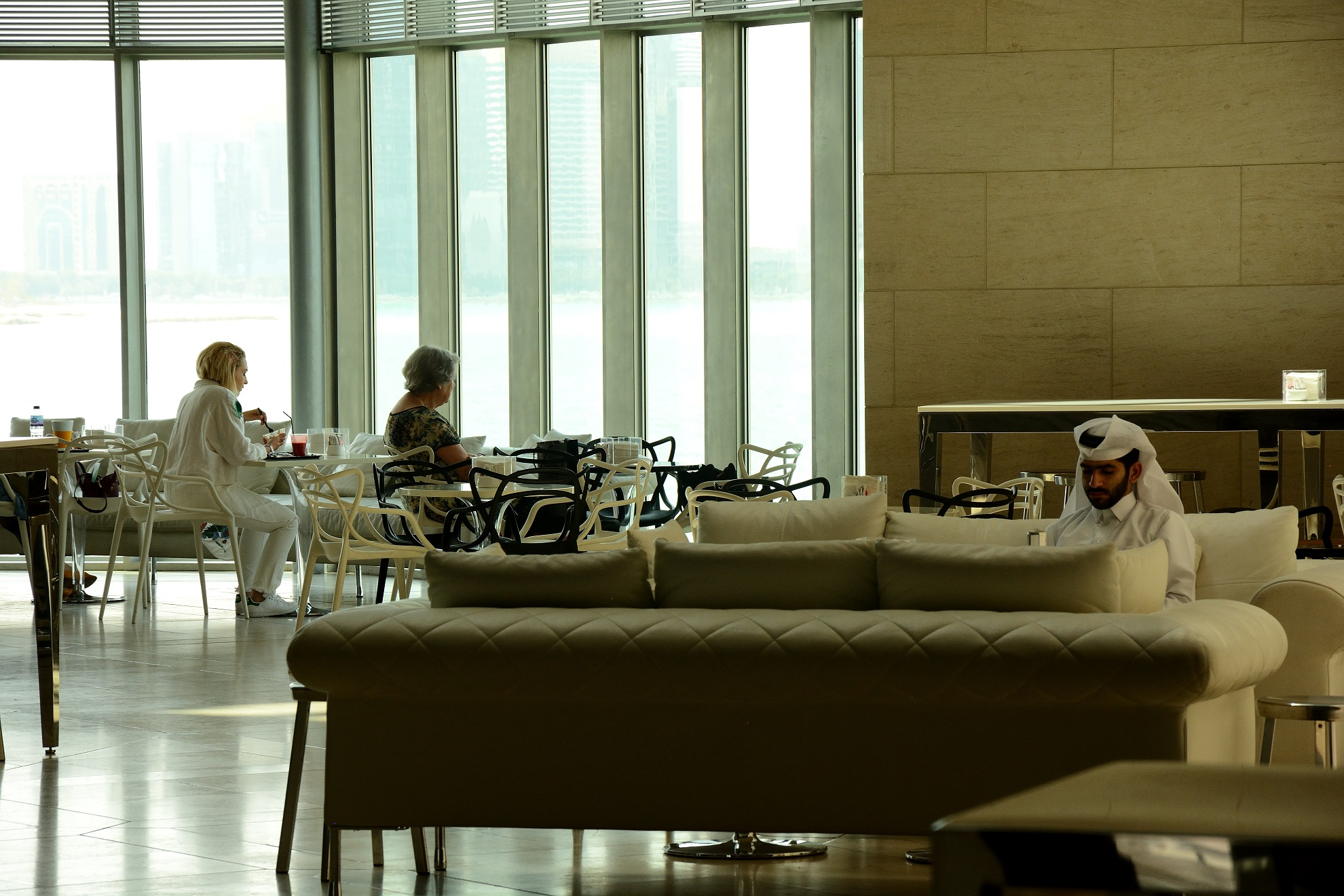 Visitors take a break in the lounge of the museum