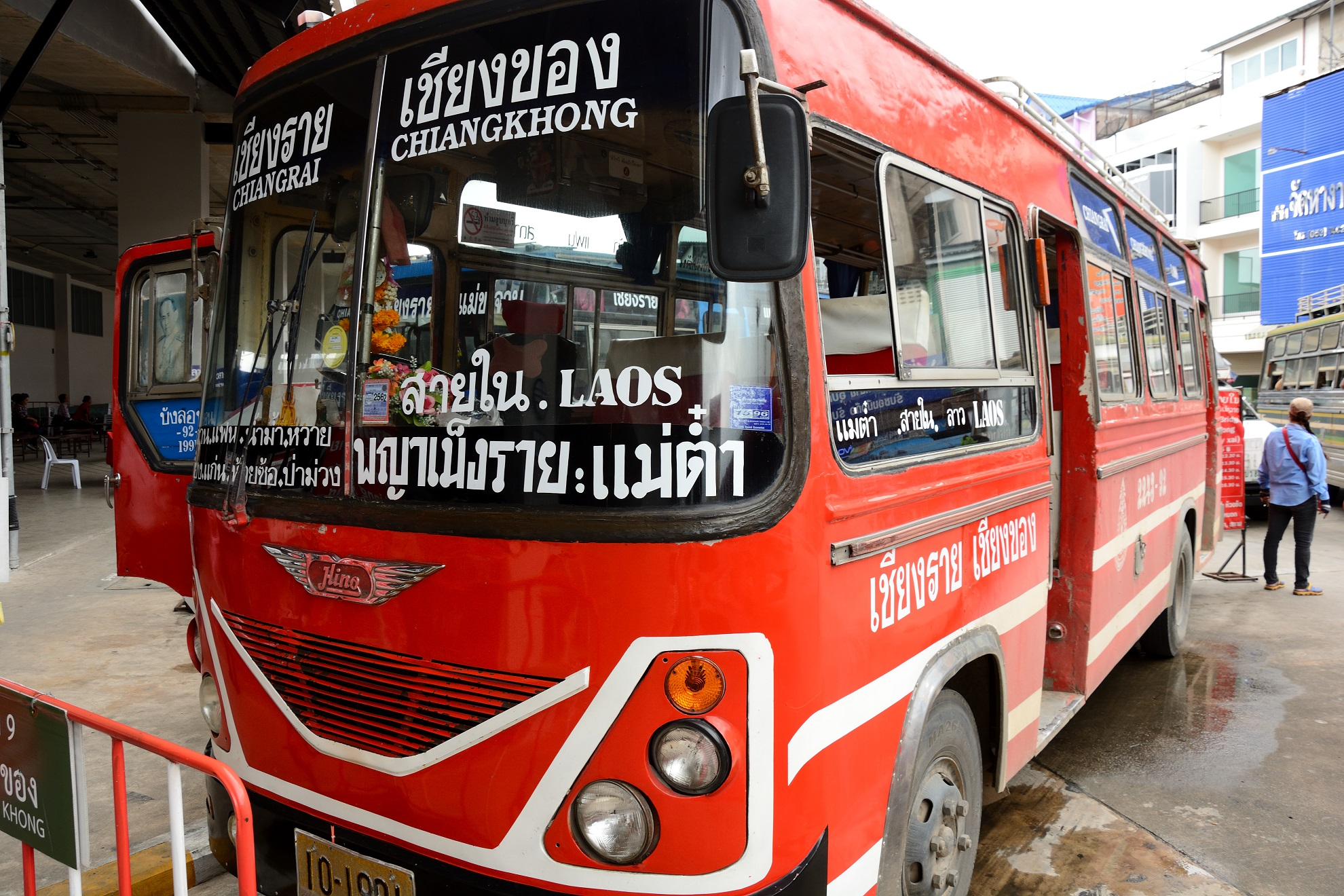 The red bus to Chiang Khong