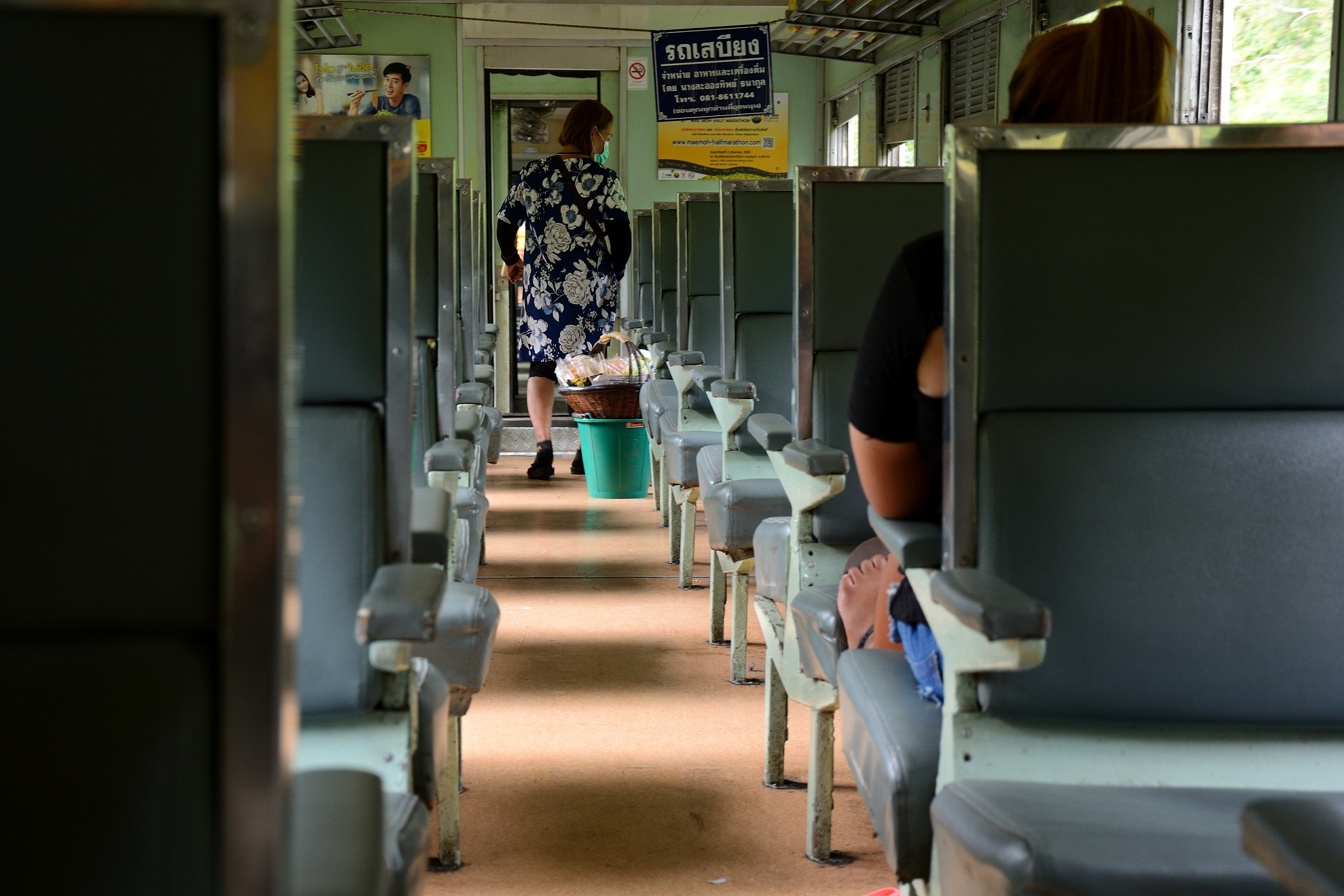 3rd class carriage travelling between Bangkok and Pattaya
