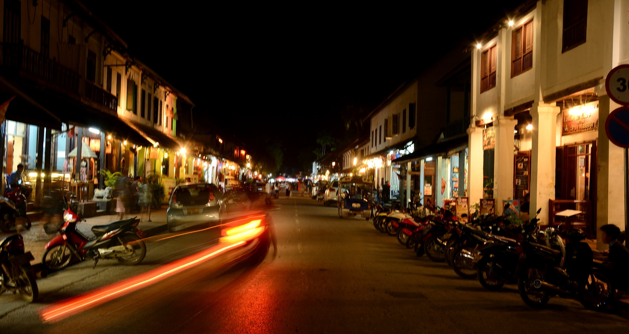 The high street of Luang Prabang at night
