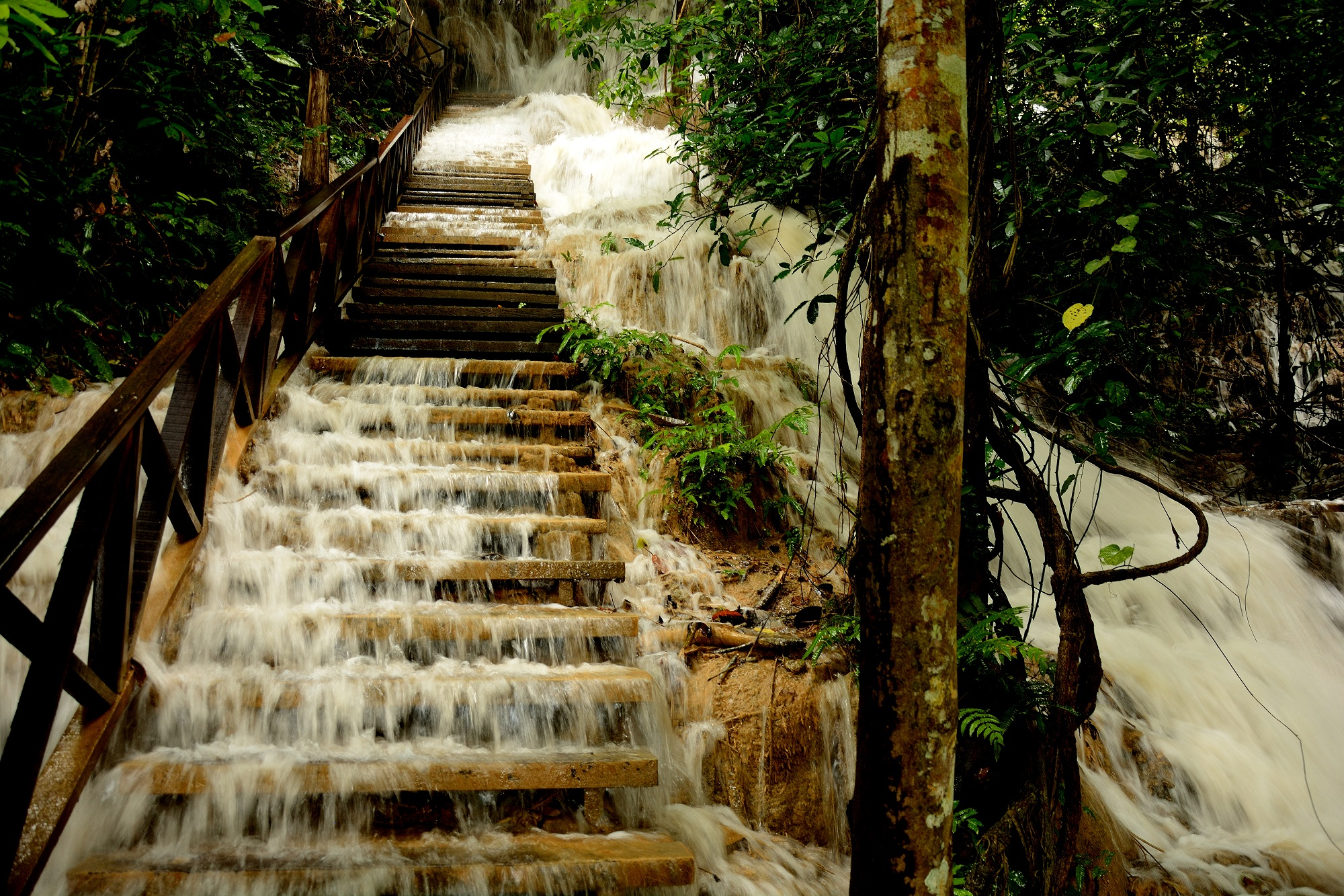 The flooded stairs leading to the top of the waterfall. It was quite an experience!
